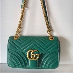 Marmont Gg Small Leather Green Velvet Shoulder Bag